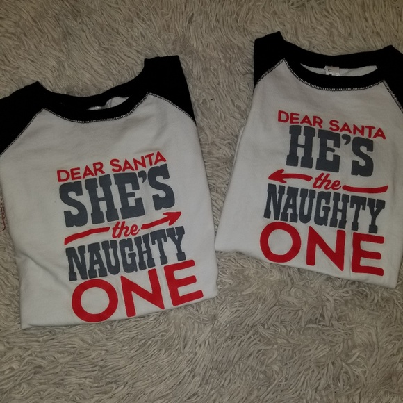 973262351 Live and Tell Other - Boy's Girl's Dear Santa He's Naughty One Matching